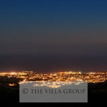 View at night over the city of Paphos