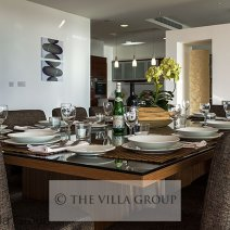 Beautiful large dining area with direct sea views