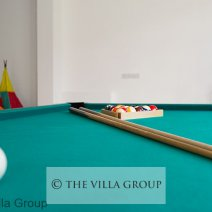 Play area with pool table