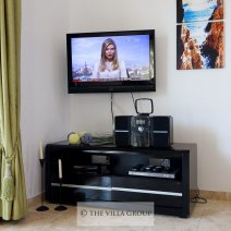 Flat Screen TV with satellite channels and DVD Player