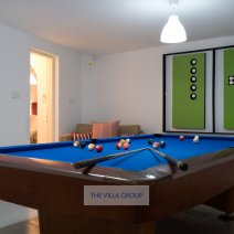 Lower level games area with pool table
