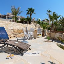 Sunbeds set the scene for relaxing under the Cyprus sunshine