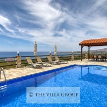 Large swimming pool with privacy and sea views