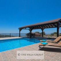 Furnished patio and swimming pool area