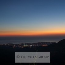 Outstanding sunsets across the mountains and with distant sea views